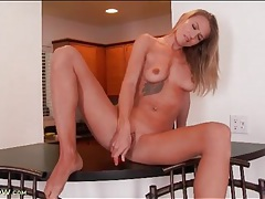 Hottie with a clit ring drips from toy fucking fun tubes
