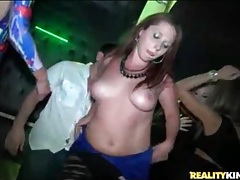 Slutty party girls strip in the night club tubes