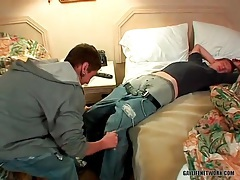 Pierced hottie strokes his dick in the hotel room tubes