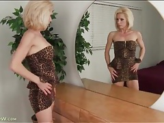 Stunningly hot leopard print dress on a mature babe tubes