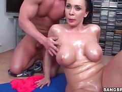 Dick slides between those big oiled up titties tubes