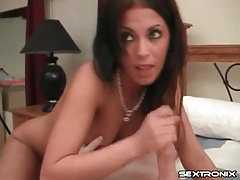 Pretty eyes girl bobs up and down on a dick tubes