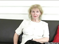 Granny surprises with her huge clit ring tubes