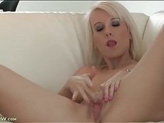 Dyed blonde hair looks sexy on a toy fucking mom tubes