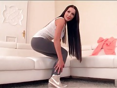 Spandex workout pants are sexy on patty michova tubes