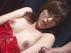 Cocksucker in red latex wants their cum on her body tubes