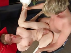 Twink jerks off to orgasm with a cock in his ass tubes
