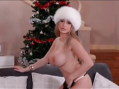 Fuzzy hat and sexy lingerie on a huge boobs girl tubes