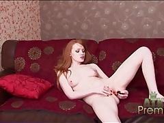 Arousing redhead all alone and masturbating tubes
