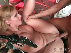 Naked slut on his motorcycle takes cock in her hole tubes