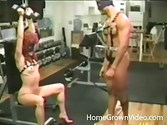 Kinky couple works out and fucks toys in the gym tubes