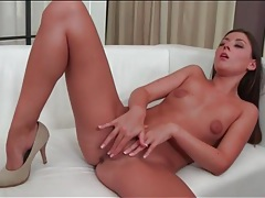 Girl with a french manicure fingers her cunt tubes