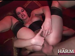 Two guys get a chance to pound her slutty holes tubes