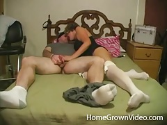 Wife in lingerie and her hubby fool around tubes