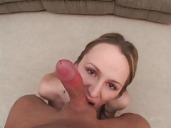 Hot cumshot spills onto the tongue of a cute chick tubes