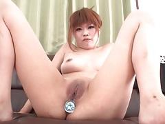 Jeweled butt plug fills her japanese asshole tubes