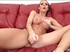 Jennifer dark drops her thong and toys her vagina tubes