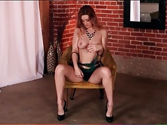Lace lingerie porn video with a dazzling redhead tubes