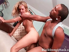 Slut tries to take all of that huge cock in her pussy tubes