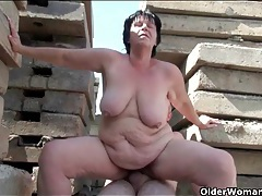 Flabby old lady fucked outdoors tubes