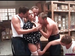 Warehouse workers gangbang a hot blonde slut tubes