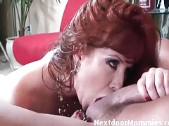 Cougar sensually worships cock with her mouth tubes