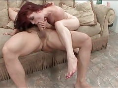 Wildly riding redhead on top with her sexy snatch tubes