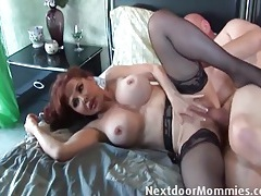 Mature redhead in sheer stockings fucks a thick cock tubes
