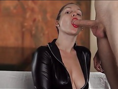 Sexy lipstick blowjob from a hottie in a catsuit tubes