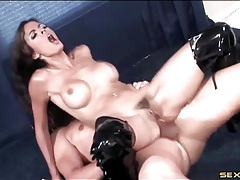 Shiny thigh high boots on a naughty anal babe tubes