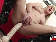Two feet of dildo to fuck her slippery cunt tubes