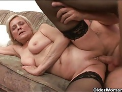 Shaved granny pussy milks his hard dick tubes