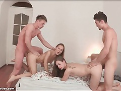 Young sluts bent over in bed and fucked doggystyle tubes
