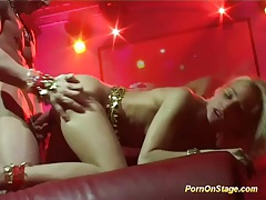 Flexi acrobatic sex on public stage tubes