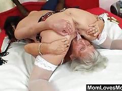 Furry gran licks hot mamma in lesbian action tubes