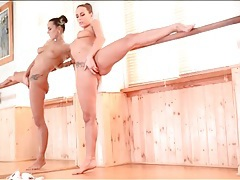 Ballerina bends her body and masturbates solo tubes