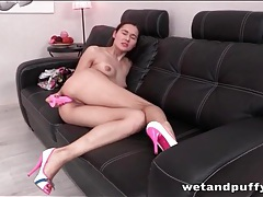 Teenager fucks a pink dildo into her asshole tubes