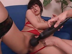 Toys and fingers delight her slippery pussy tubes