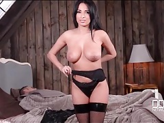 Anissa kate dresses in sexy leather lingerie tubes
