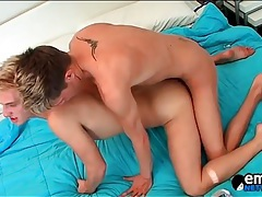 Hot twink anal with the bottom boy riding lustily tubes