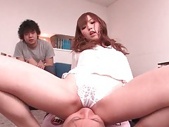 Japanese facesitting in pretty white lace panties tubes