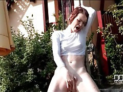 Sensual teen masturbation in an outdoor shower tubes