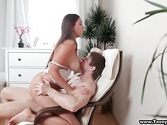 Licking a teen cunt leaves her wet for fucking tubes