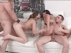 Naked teens with great tits suck on cocks tubes