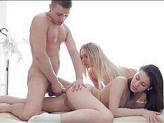 Fucking both hot teens makes him cum tubes
