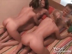 Five lesbian teens oiled up for an orgy tubes