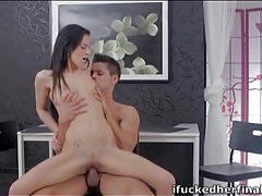 Petite teen milks his cock with her wet pussy tubes