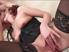 Glam girl sucks balls and screws from behind tubes