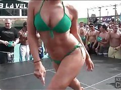 Bikini dance contest with a bevy of babes tubes