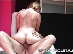 Fat guy with stamina cums in a cute amateur chick tubes